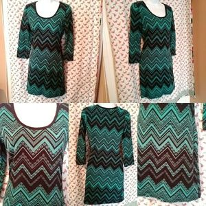 Derek Heart EUC green & black bodycon dress M